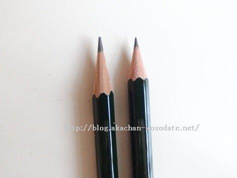 カールとカルハーフの仕上がり比較、鉛筆
